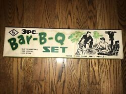 Vintage Nos 3pc Bar-b-q Set Barbeque Walnut Finished Chrome Plated Leather
