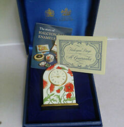 Rare Halcyon Days Brass And Enamel Miniature Clock In Original Box And Papers Mint
