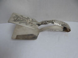 And Co Chrysanthemum Sterling Silver Asparagus Sandwich Serving Tongs Mono