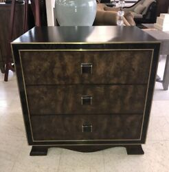 Maitland-smith Walnut Burl Leather Top Drawer Nightstand Bedside Bachelors Chest