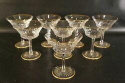 Set Of 8 France Crystal St Louis Apollo Champagne Tall Sherbet With Gold.