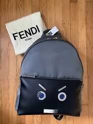 Rare Sold-out Saks-exclusive Authentic Fendi Faces Black Grey Leather Backpack