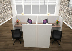 6x6 Cubicles- 51andprime H- 2 Man Back-to-back Fully Fabric Office Workstations- U