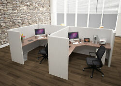 6x6 Cubicles-51andprime H- 2 Man Double L Shape Fully Fabric Office Workstations-u