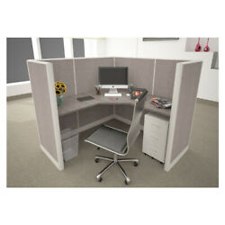 5x5 Cubicles- 54andprime H- One Man L Shape Fully Fabric Office Workstations-u