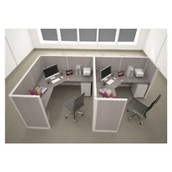 5x5 Cubicles- 54andprime H-2 Man Double L Shape Full Fabric Office Workstations