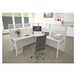 6x6 Cubicles-54andprimeh- One Man L Shape Glazed Office Workstations-e