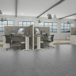 5x5 Cubicles-54andprime H-2 Man Back-to-back L Shape Fabric Office Workstations-e
