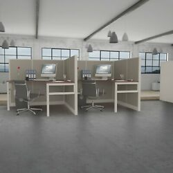 5x5 Cubicles- 54andprime H- 2 Man Double L Shape Fully Fabric Office Workstations-e