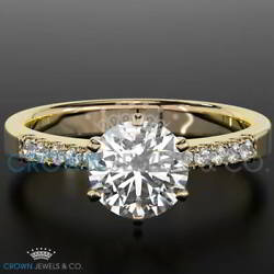 F Vvs2 Diamond Engagement Ring Enhanced 1.05 Ct Round Cut 18k Yellow Gold