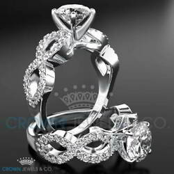 Ladies Diamond Engagement Ring F Si Accented Solitaire 1.60 Ct Round Cut