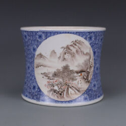 Chinese Old Marked Blue And White Ink Colored Landscape Porcelain Brush Pot
