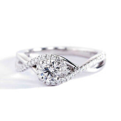 Video0.50 Ct Vs2 D Round Twisted Diamond Halo Engagement Ring 18k-white Gold