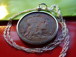 Antique French Copper 10 Centimes Pendant On 30 925 Sterling Silver Wavy Chain