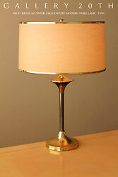 Rare Mid Century Modern Brass Table Lamp Retro Gold Vtg 50and039s 60and039s Atomic Light