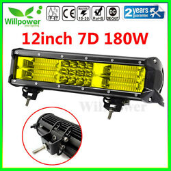 Amber 7d 12inch 180w Led Work Light Bar Tri Row For Truck Car Off Road Suv 4wd