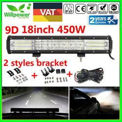 18inch 450w Quad Row Led Work Light Bar For Jeep Car Off Road Suv 4wd + Harness
