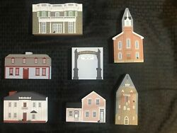 Cats Meow Village Collector's Club Edition Vintage Wood Collectibles Lot Of 7
