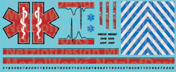 N Scale Generic Ambulance Star Of Life Decals Red/black
