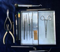 14 Dentist Medical Tools Id Vintage Doctor Large Grouping Dr. J.f. Wark Vermont