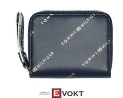 Iconic Tommy Medium Double Zip Around Wallet Purse Blue Gold