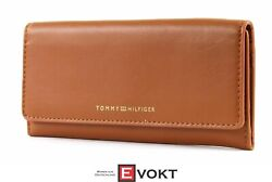 Smooth Leather Ew Slim Flap Wallet Purse Cognac Brown New