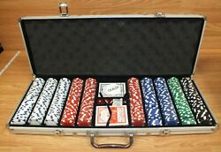 Clay Poker Chips Texas Hold Em' Set With Best Club Special No. 9 Playing Cards