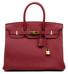 HERMES BIRKIN 35 TOGO ROUGE GRENAT WITH GOLD HARDWARE. BRAND NEW!!