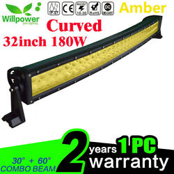 Amber Curved 32inch 180w Led Work Light Bar For Off Road Jeep Suv Ute Truck Car