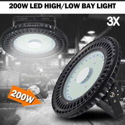 3x 200W UFO LED High Bay Light Gym Factory Warehouse Industrial Shed Lighting