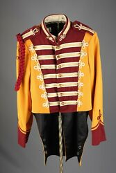 Vtg 1960s Marching Band Sgt Peppers Uniform Jacket S Long Brass Buttons 60s 7359