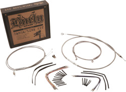 Burly Stainless Braid 16in. Ape Hangers Cable And Brake Line Kits B30-1128