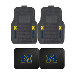 Ncaa Michigan Wolverines 2-pc And 4-pc Deluxe Floor Car Truck Mat Sets
