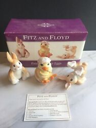 Rare Fitz And Floyd Painted Easter Eggs Bunny Chick Figurines In Box