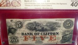 1859 5 Bank Of Clifton - Canada Chartered Banknote