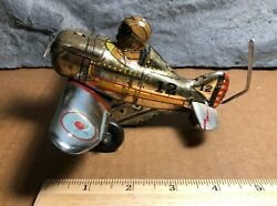 Vintage Marx | Roll Over 5 Plane 12 | Tin Wind-up Stunt Toy | Good Condition