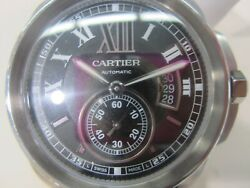 CARTIER MEN'S WATCH AUTOMATIC S/S LEATHER SAPPHIRE 2909 NEW