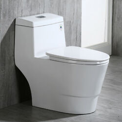 Woodbridge Dual Flush Elongated One Piece Toilet with Soft Closing Seat T 0001