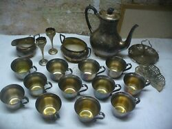 Vintage Silver Plate Lot. Creamer Teapot Cups Sugar Bowl Napkin/candy Tray +