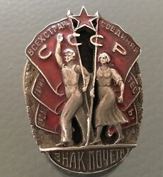 Original Soviet Russia Ussr Wwii Silver Badge Of Honor Screw Back Order 6002