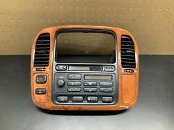 1998-2002 Lexus LX470 Climate Control Radio Tape CD Player Dash  Wood Bezel OEM