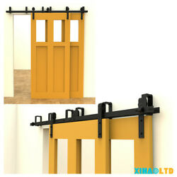 Ccjh 4ft-20ft Bypass Sliding Barn Wood Double Doors Hardware Roller Track Set