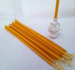 18 Beeswax Candles amp; Porcelain Ceramic Antiquity Style Candlestick Set