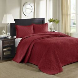 3pc Solid Deep Red Quilted Bedspread Set And Decorative Pillow Shams - All Sizes