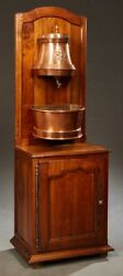 Antique French Provincial Copper Lavabo Hanging Wall Basin | W/walnut Washstand