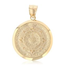 14k Yellow Gold Mexican Sun Stone Azteca Calendar Pendant For Necklace Or Chain
