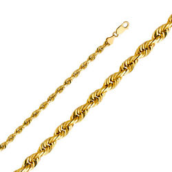 14k Yellow Solid Gold 6mm Rope Diamond Cut Chain Necklace With Lobster Clasp