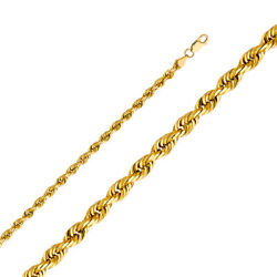 14k Yellow Solid Gold 5mm Rope Diamond Cut Chain Necklace With Lobster Clasp