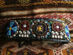 Antique Hand Embroidered Beadwork Leather Belt Ethnography Costume Bag Hungary