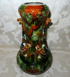 Large And Rare Asian Antique 1800's Beautifully Glazed Pottery Dragon Vase